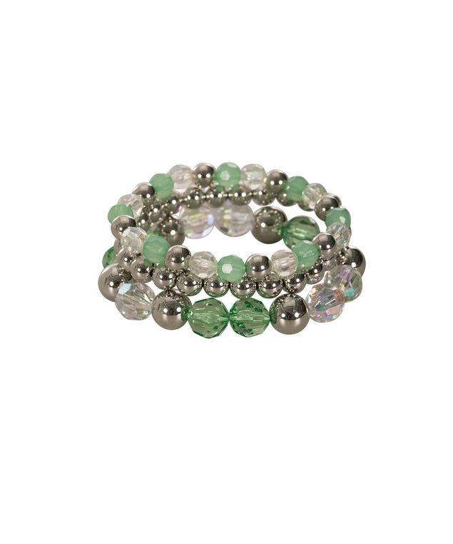 Faceted & Stone Stretch Bracelet Set, Leaf Green/Rhodium, hi-res