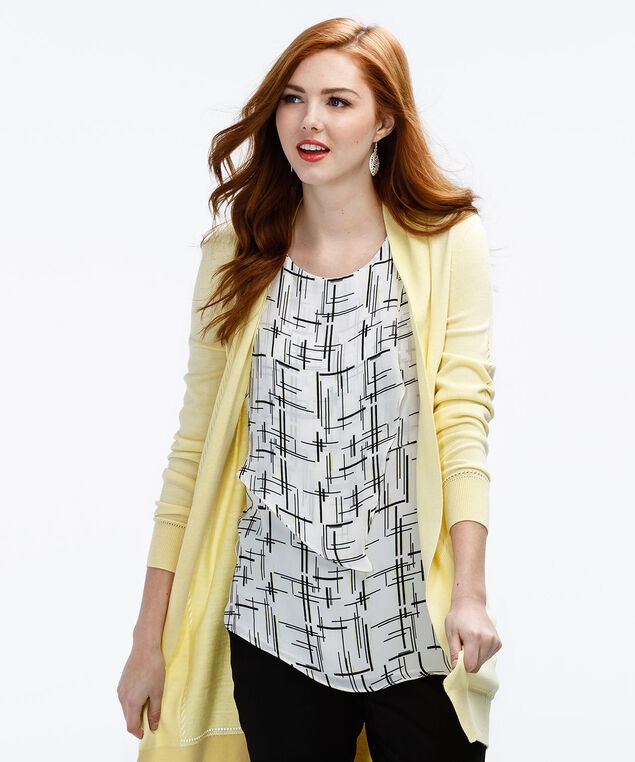 Vertical Cha Cha Blouse, Yellow Print, hi-res