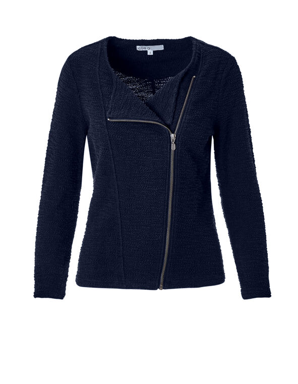 Navy Textured Knit Jacket, Navy, hi-res
