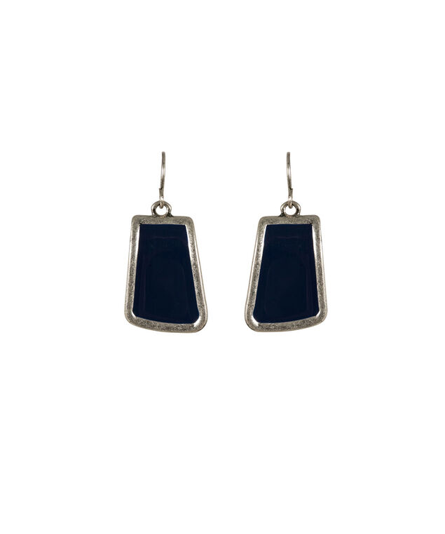 Painted Epoxy Earring, Deep Sapphire/Burnished Silver, hi-res
