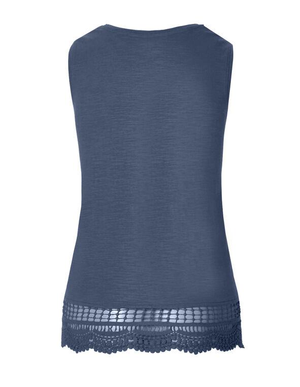 Petrol Blue Crochet Trim Sleeveless Tee, Petrol Blue, hi-res
