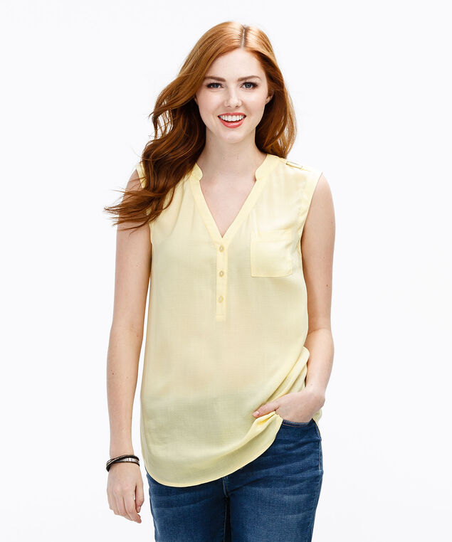 Henley Blouse Tank, Yellow, hi-res