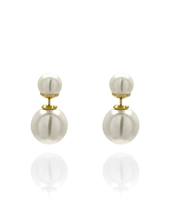 Gold Ivory Pearl Earring, Gold/Ivory, hi-res