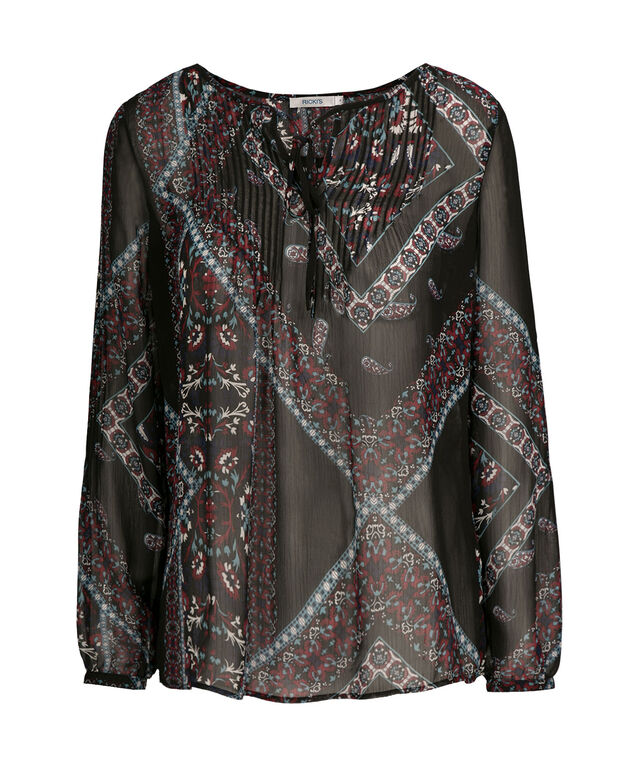 Ric Rac Trim Blouse, Black Pattern, hi-res