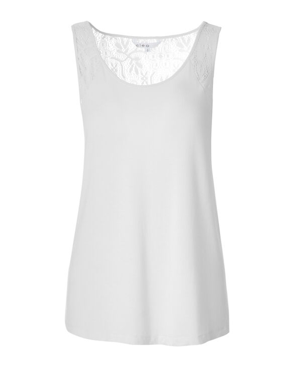 White Lace Back Tee, White, hi-res