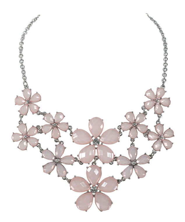 Floral Mini Statement Necklace, Pink Blush/Rhodium, hi-res