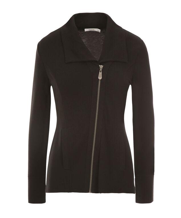 Asymmetrical Zip Jacket, Black, hi-res