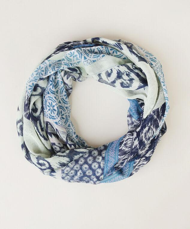 blue print oblong scarf, NAVY/MINT, hi-res