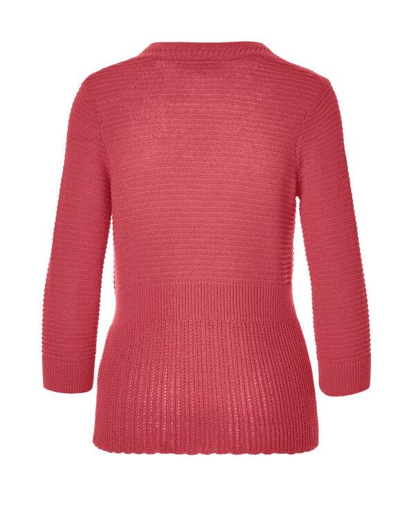 Coral 3/4 Sleeve Cardigan, Pink Coral, hi-res