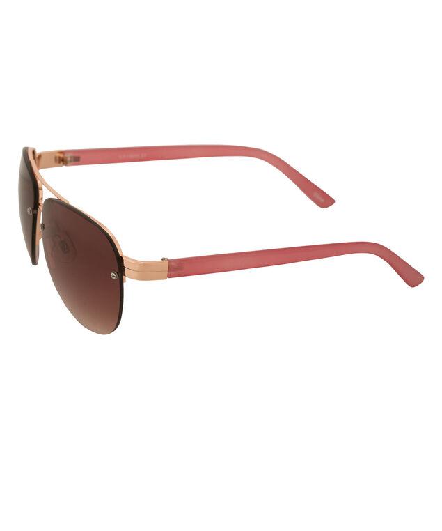 Metal Frame Aviator Sunglasses, Brown/Rose Gold, hi-res