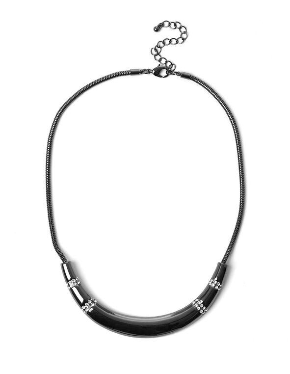 Silver Collar Bar Necklace, Hematite, hi-res