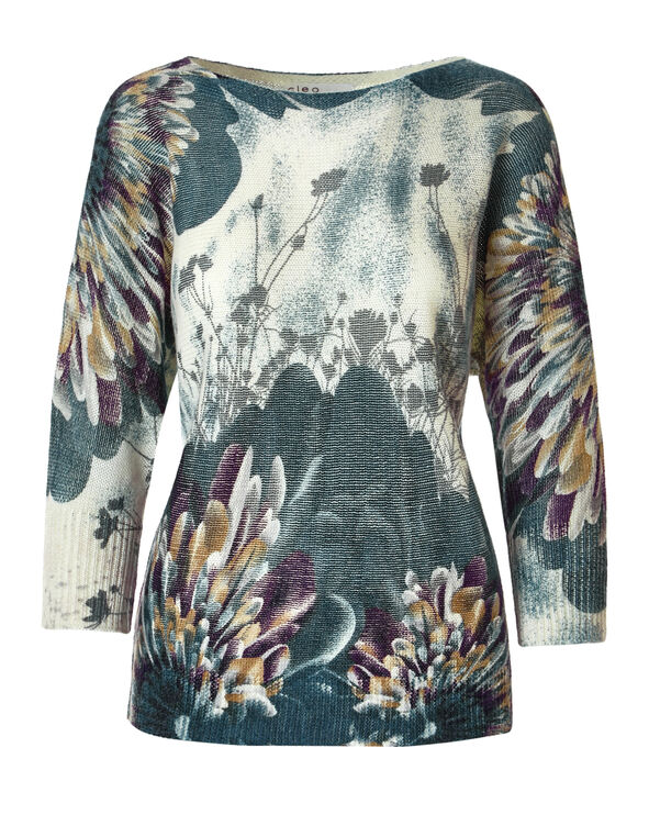 Blue Cloud Pullover Sweater, Ivory/Blue Cloud/Dark Turquoise/Saffron, hi-res