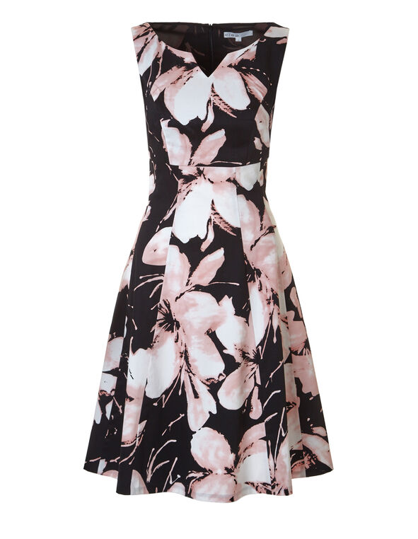 Floral Print Fit and Flare Dress, Black/Pink/Ivory, hi-res