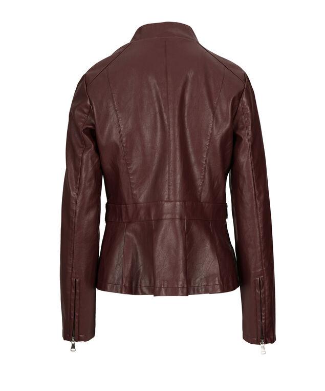 Zip Front Peplum Jacket, Burgundy, hi-res