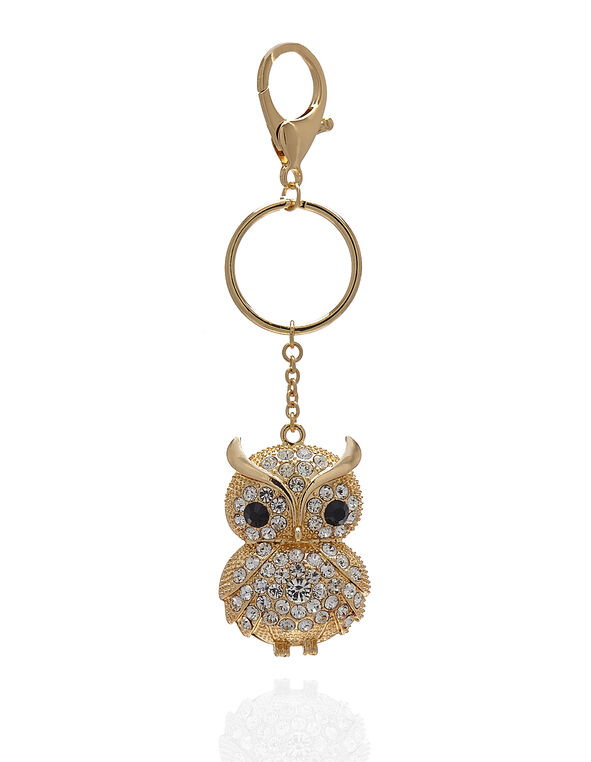 Gold Owl Handbag Charm, Gold, hi-res