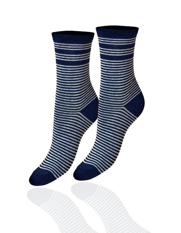 Navy Stripe Crew Sock, Navy, hi-res