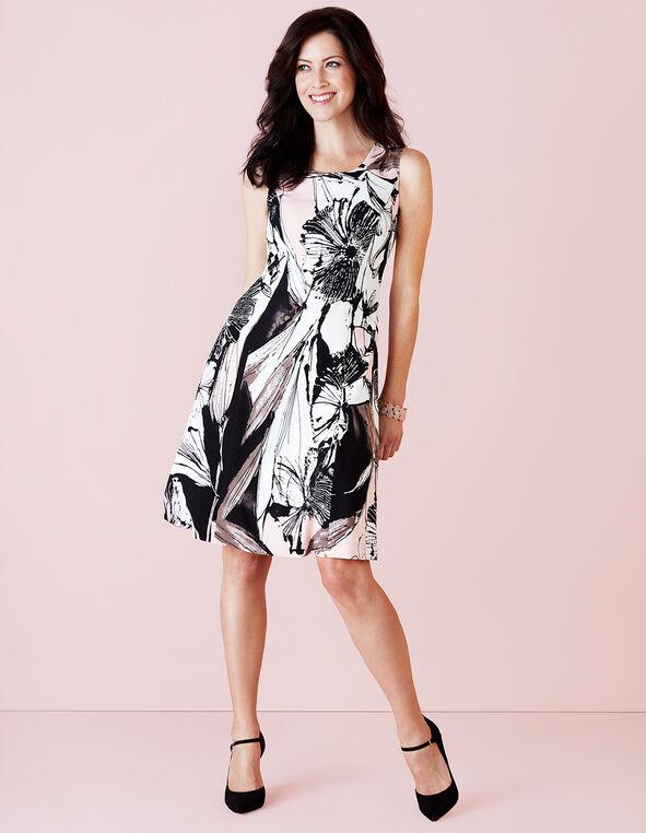 A-Line Floral Dress, Soft Pink/White/Black, hi-res