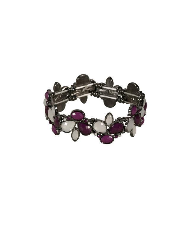 Faceted Stone Bracelet, Purple/Milkshake/Hematite, hi-res