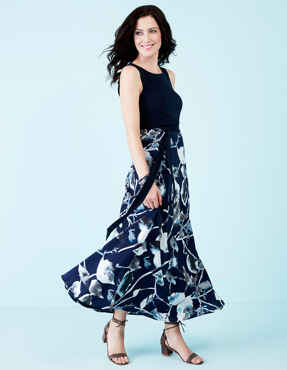 Navy Floral Maxi Dress, Navy/White/Grey, hi-res
