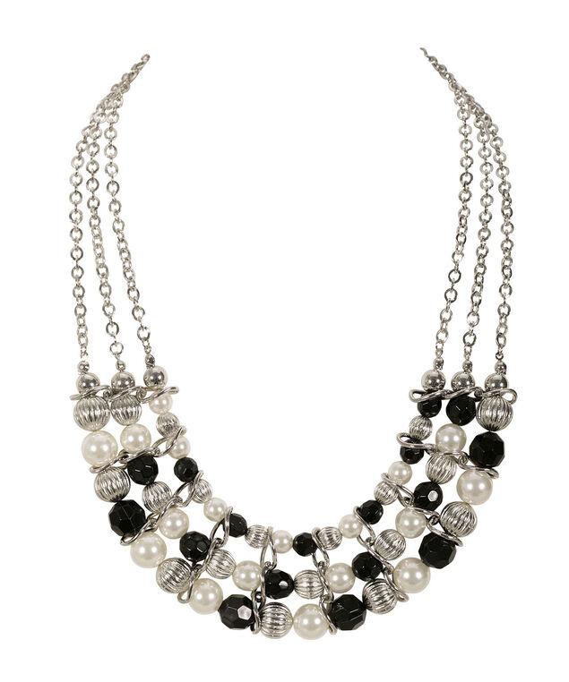 Faceted Textured Bead Necklace, White/Black/Rhodium, hi-res
