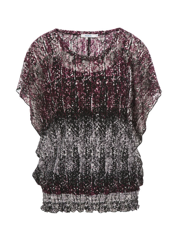 Ombre Lace Top, Wineberry, hi-res