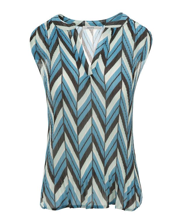 Extended Shoulder Sheer Henley, Turquoise Print, hi-res