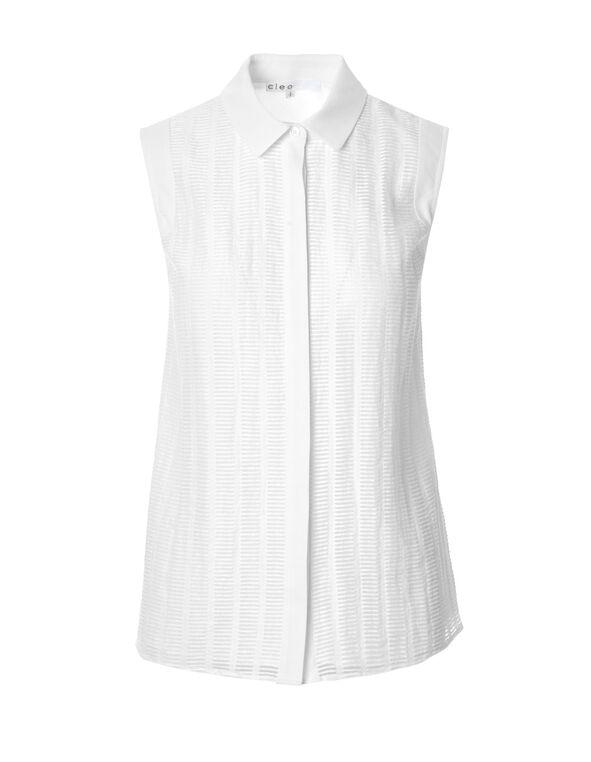 White Textured Front Blouse, White, hi-res