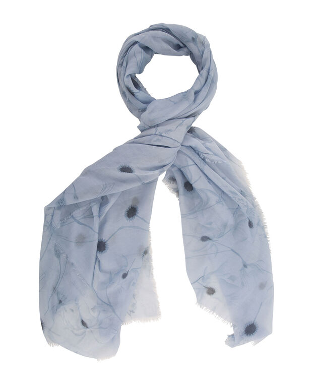 Watercolour Floral Scarf, Pale Aqua, hi-res