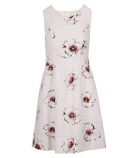 Floral Gingham Organza Dress, White/Red Print, hi-res
