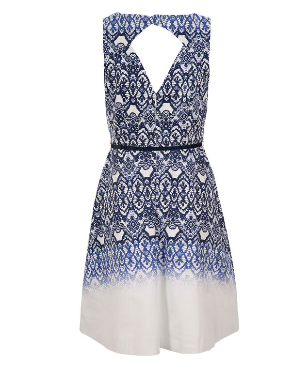 Placement Print Cut Out Dress, White/Blue Print, hi-res