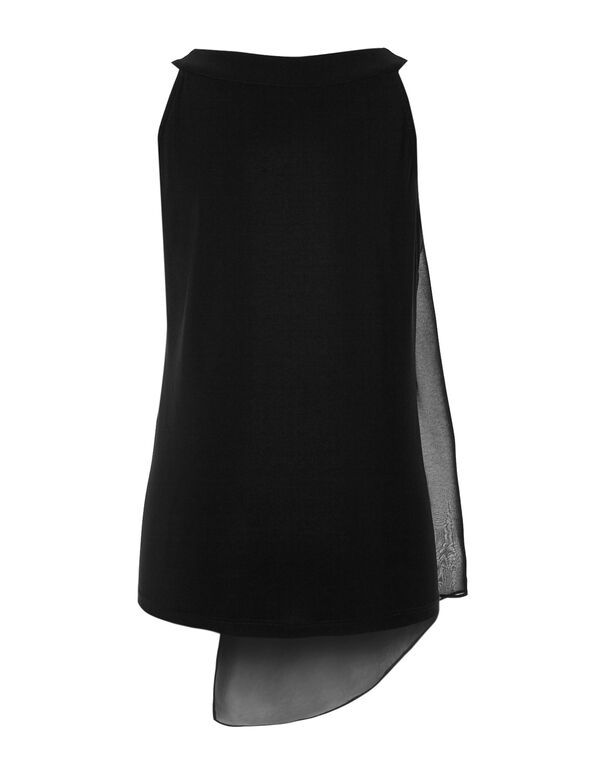 Black Overlay Chiffon Top, Black, hi-res