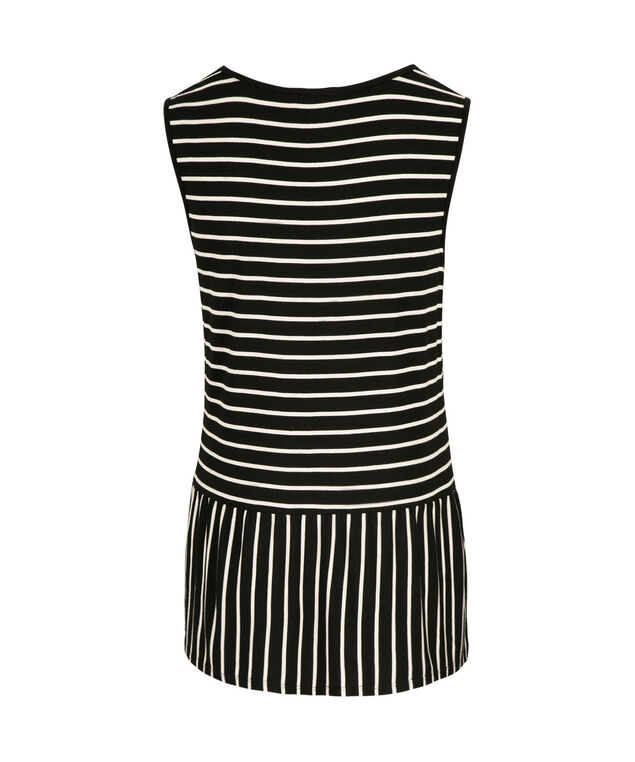 Striped Peplum Top, Black/White, hi-res
