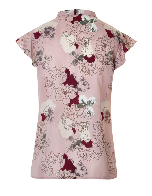 Floral Bow Tie Blouse, Dusty Pink/Claret/White/Black, hi-res