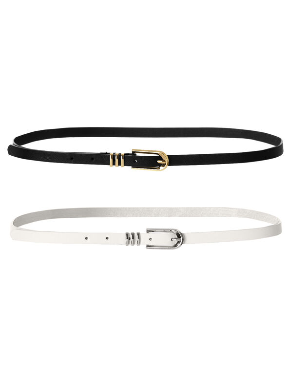 Two Pack Skinny Belt, Black/White, hi-res