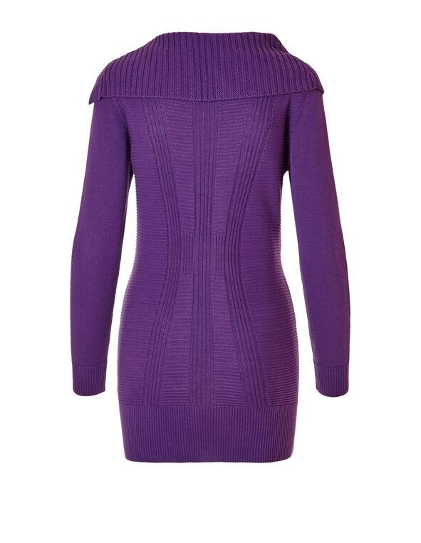Purple Split Neck Sweater, Purple, hi-res