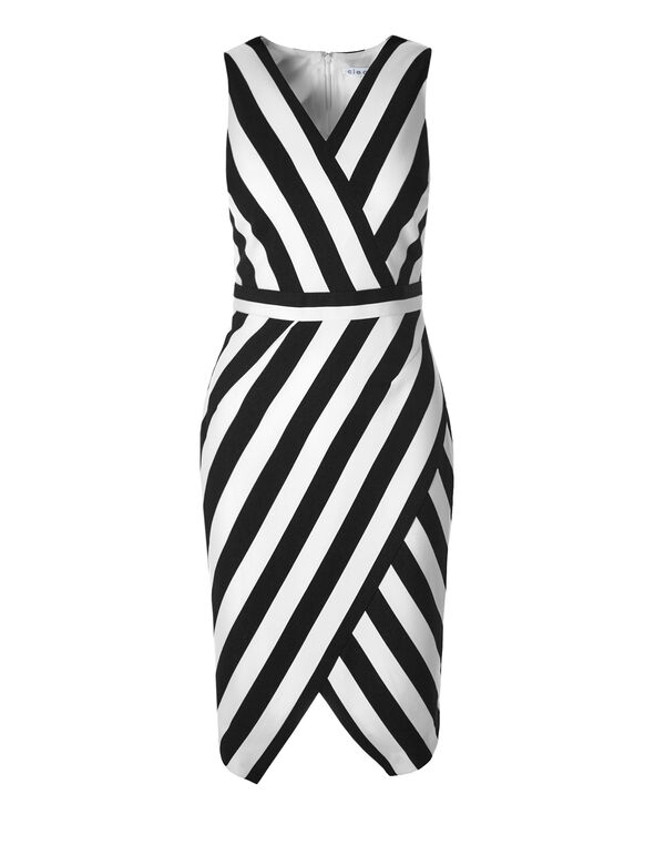 Stripe Print Midi Shift Dress, Black/White, hi-res
