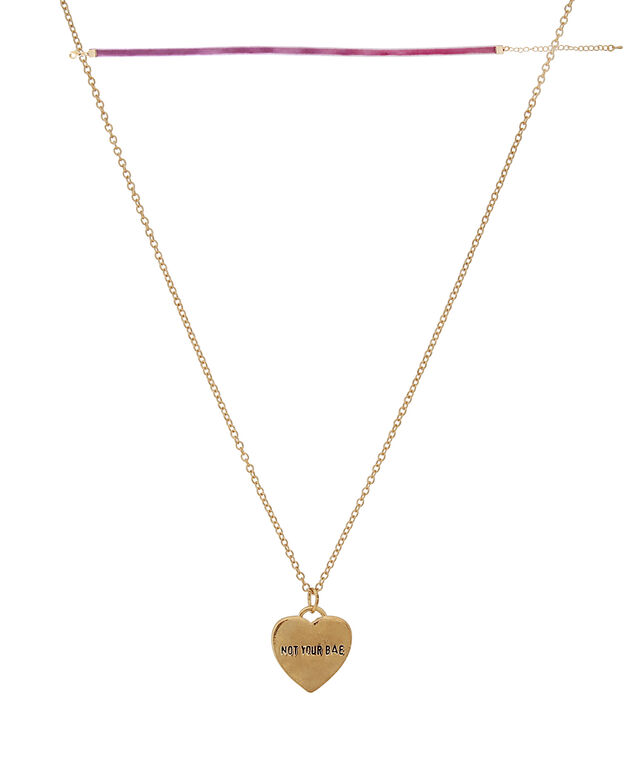 2 piece 'not your bae' necklace set, GOLD, hi-res