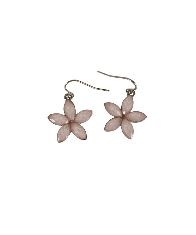 Glitter Stone Flower Earring, Misty Pink/Rhodium, hi-res
