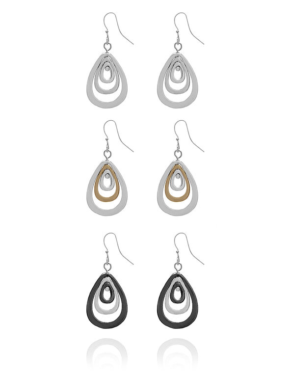 Teardrop Trio Earring Set, Silver/Gold/Hematite, hi-res