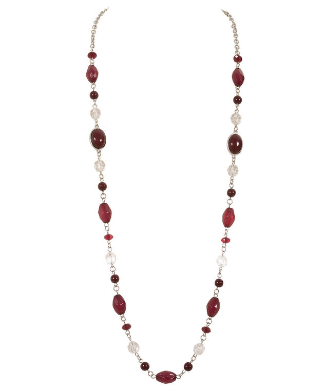 Stationed Bead & Crystal Necklace, Shiraz/Rhodium, hi-res