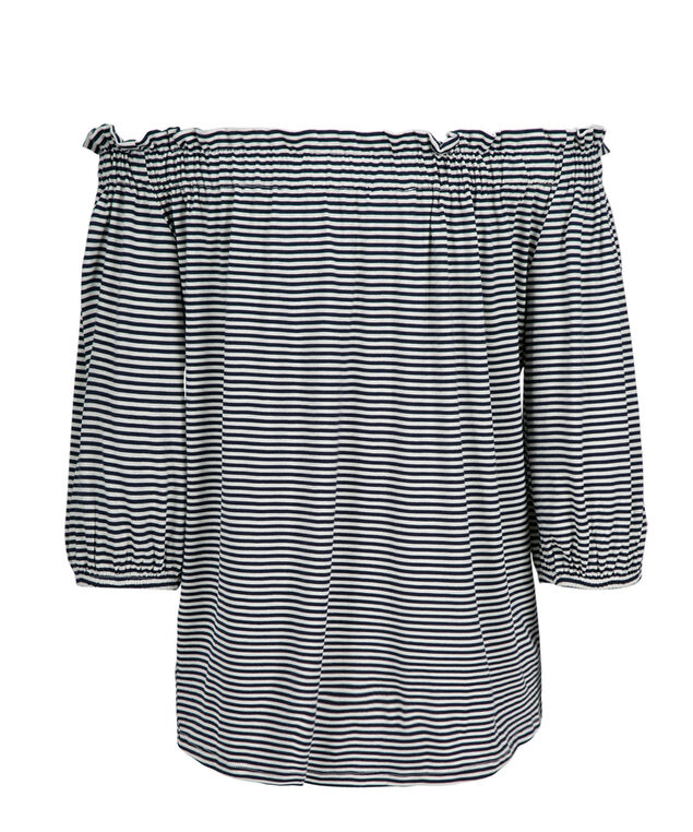 Off Shoulder Striped Top, Navy Stripe, hi-res