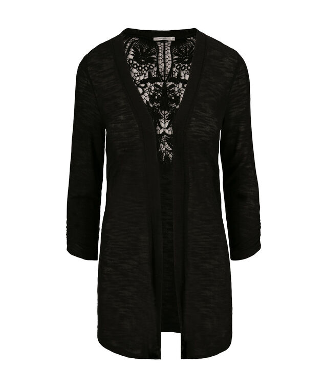 Crochet Back Cardigan, Black, hi-res