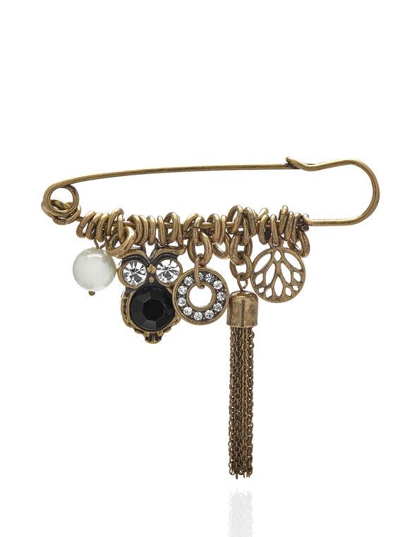 Gold Owl Pin, Gold, hi-res