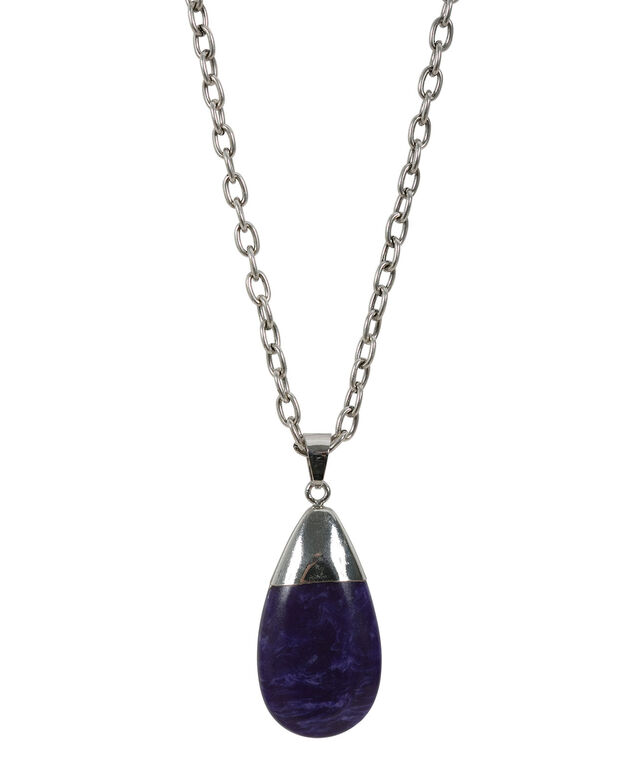 Natural Stone Pendant Necklace, Purple/Burnished Silver, hi-res
