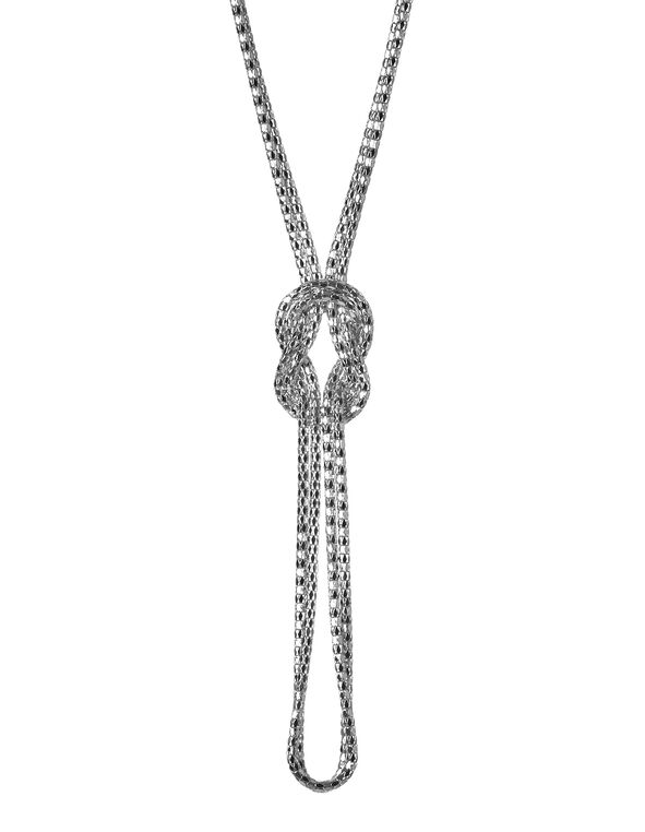 Long Silver Knot Necklace, Silver, hi-res