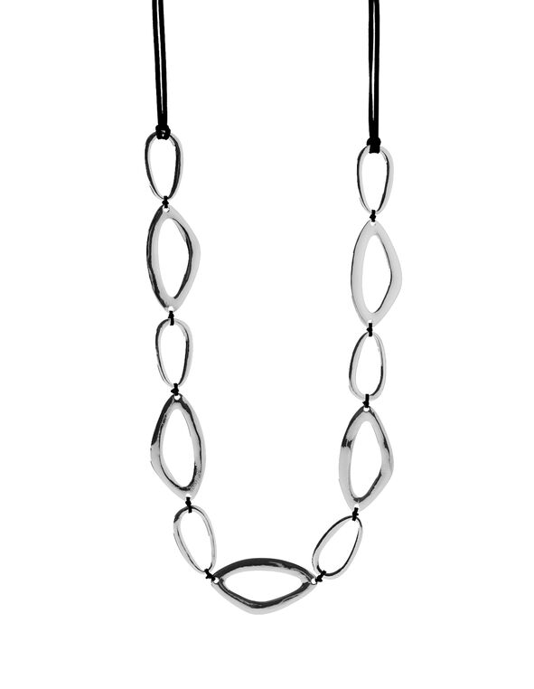 Abstract Oval Necklace, Silver, hi-res