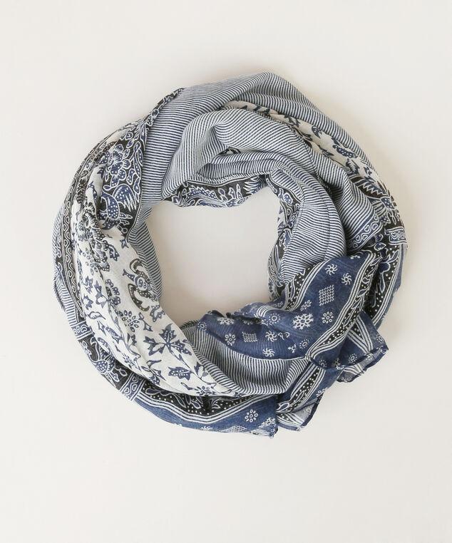 border print scarf, NAVY/NATURAL, hi-res