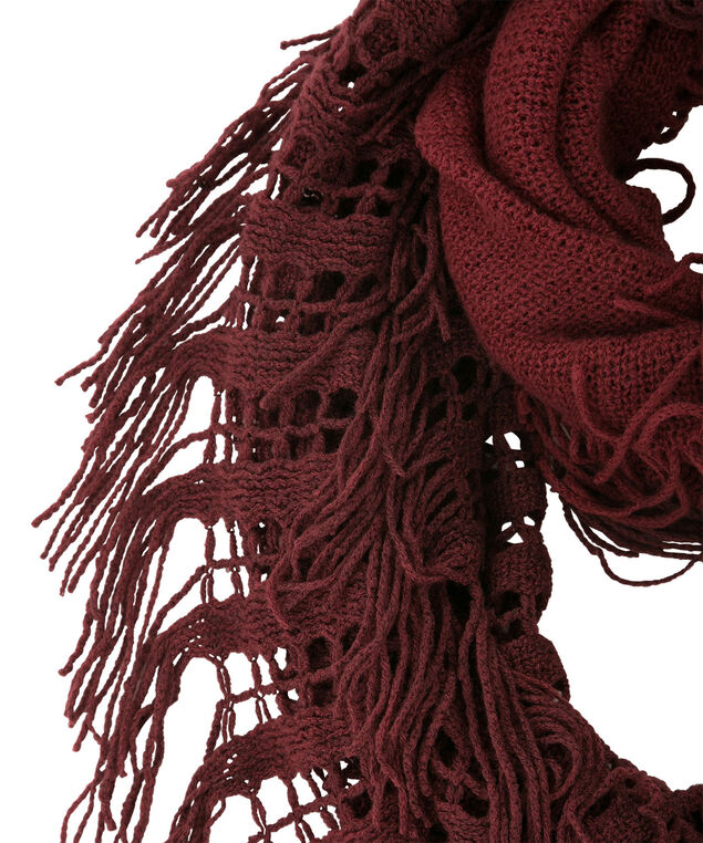 Knit Eternity Fringe Scarf, Wine/Plum, hi-res