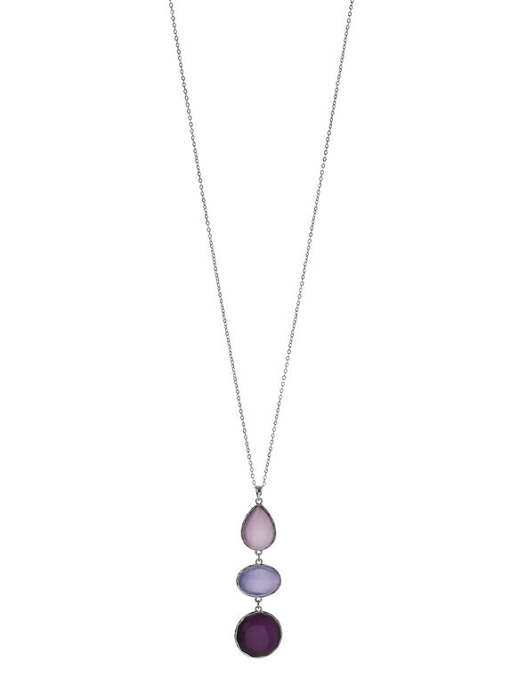 Purple Cat Eye Necklace, Silver/Purple, hi-res