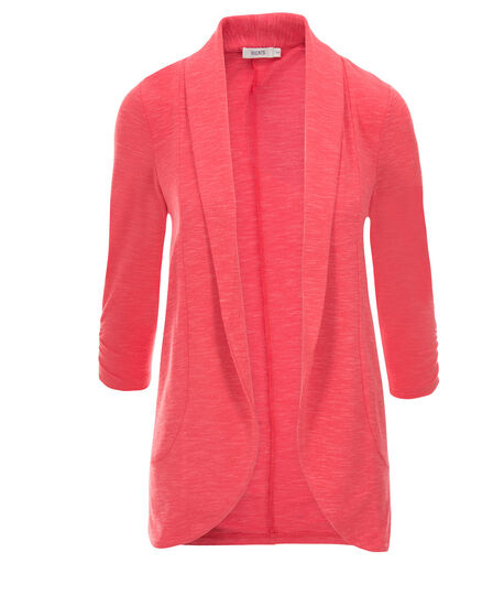 Shawl Collar Cover-Up, Coral, hi-res